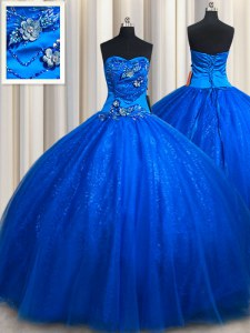 Sweetheart Sleeveless Quinceanera Gowns Floor Length Beading and Appliques Royal Blue Tulle