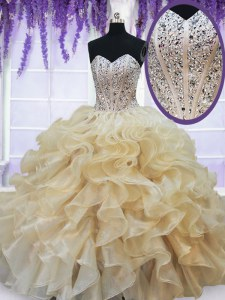 Artistic Champagne Organza Lace Up Quinceanera Dresses Sleeveless Floor Length Beading and Ruffles