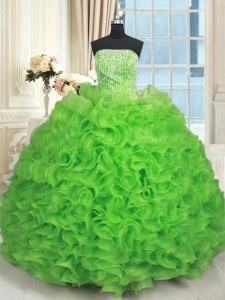 Best Strapless Sleeveless Lace Up Quinceanera Gowns Organza