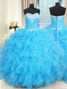 Sophisticated Baby Blue Sweetheart Neckline Beading and Ruffles and Ruffled Layers Sweet 16 Quinceanera Dress Sleeveless Lace Up