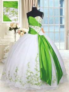 White and Green Sleeveless Organza Lace Up Quinceanera Gowns for Military Ball and Sweet 16 and Quinceanera