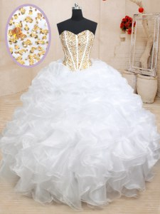 Pretty Floor Length White Ball Gown Prom Dress Sweetheart Sleeveless Lace Up