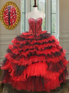 Exquisite Red And Black Sweetheart Lace Up Beading Ball Gown Prom Dress Sleeveless