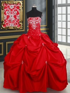 Red Taffeta Lace Up Sweet 16 Dress Sleeveless Floor Length Beading and Pick Ups