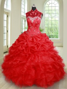 Custom Made Pick Ups See Through High-neck Sleeveless Lace Up Sweet 16 Quinceanera Dress Red Organza