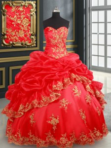 High End Red Sweetheart Lace Up Beading and Appliques and Pick Ups Quinceanera Gown Sleeveless