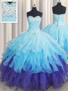 Floor Length Lace Up Sweet 16 Quinceanera Dress Multi-color for Military Ball and Sweet 16 and Quinceanera with Beading and Ruffles