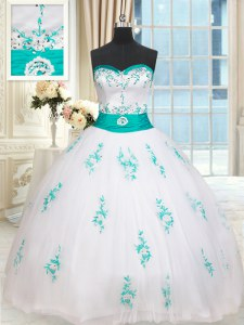 Best Ball Gowns Quinceanera Gowns White Sweetheart Tulle Sleeveless Floor Length Lace Up