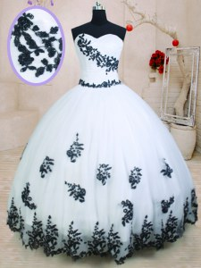Organza Sleeveless Floor Length Sweet 16 Dress and Appliques