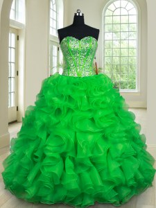 Comfortable Ball Gowns Quinceanera Gown Green Sweetheart Organza Sleeveless Floor Length Lace Up