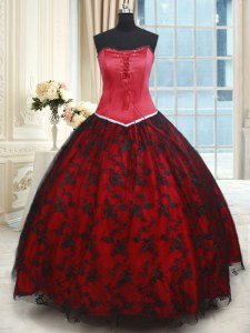 Fashion Black and Red Lace Lace Up Strapless Sleeveless Floor Length Quinceanera Gown Lace