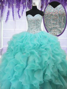 Custom Fit Sweetheart Sleeveless Lace Up Quince Ball Gowns Aqua Blue Organza