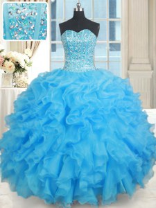 Charming Sleeveless Floor Length Beading Lace Up Ball Gown Prom Dress with Baby Blue