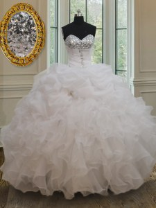 White Ball Gowns Sweetheart Sleeveless Organza Floor Length Lace Up Beading and Ruffles and Sequins Vestidos de Quinceanera