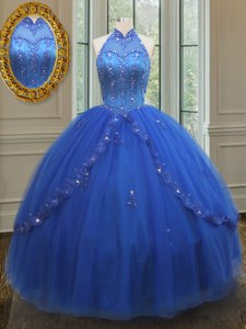 Beautiful High Neck See Through Beading and Appliques Quinceanera Gowns Royal Blue Lace Up Sleeveless Floor Length