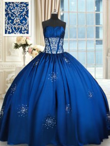 Sweet Taffeta Sweetheart Sleeveless Lace Up Beading Quince Ball Gowns in Royal Blue