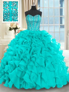 Gorgeous With Train Ball Gowns Sleeveless Aqua Blue Quinceanera Gowns Brush Train Lace Up