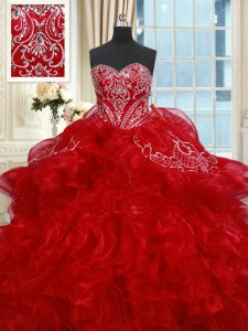 Sweetheart Sleeveless Vestidos de Quinceanera Floor Length Beading and Ruffles Red Organza