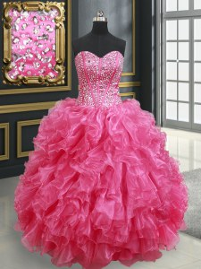 Fancy Floor Length Hot Pink Quinceanera Gown Organza Sleeveless Beading and Ruffles