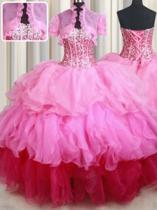 Rose Pink Ball Gowns Sweetheart Sleeveless Organza Floor Length Lace Up Ruffles and Sequins Quinceanera Dresses