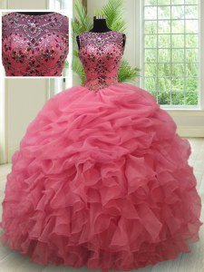 Fine Scoop See Through Floor Length Pink 15 Quinceanera Dress Organza Sleeveless Beading and Ruffles and Pick Ups