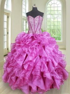 Nice Sleeveless Organza Floor Length Lace Up Sweet 16 Dress in Lilac with Beading and Ruffles