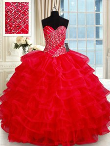 Vintage Red Ball Gowns Beading and Ruffled Layers Ball Gown Prom Dress Lace Up Tulle Sleeveless Floor Length