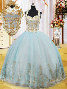 Light Blue Halter Top Lace Up Appliques Sweet 16 Dresses Sleeveless