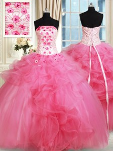 Hot Pink Tulle Lace Up Strapless Sleeveless Floor Length Sweet 16 Quinceanera Dress Beading and Appliques and Ruffles