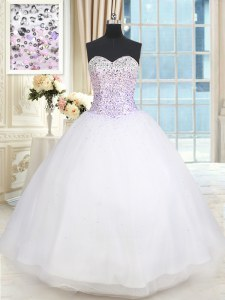 Chic Sweetheart Sleeveless Tulle Sweet 16 Dress Beading Lace Up