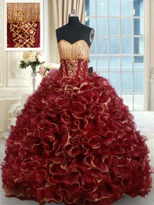 Fantastic Burgundy Ball Gowns Sweetheart Sleeveless Organza Brush Train Lace Up Beading and Ruffles Quinceanera Gowns
