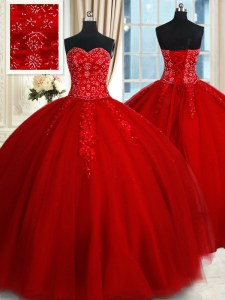 Clearance Red Tulle Lace Up Sweet 16 Dresses Sleeveless Floor Length Beading and Appliques