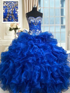 Chic Sleeveless Lace Up Floor Length Beading and Ruffles and Ruffled Layers 15 Quinceanera Dress