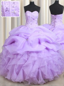 Great Lavender Sleeveless Floor Length Beading and Ruffles and Pick Ups Lace Up Sweet 16 Quinceanera Dress