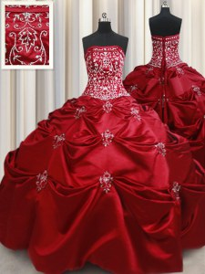 Luxury Taffeta Strapless Sleeveless Lace Up Beading and Pick Ups Quinceanera Gown in Wine Red