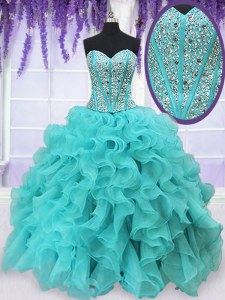 Traditional Aqua Blue Organza Lace Up Quinceanera Gowns Sleeveless Floor Length Beading and Ruffles