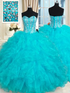 Affordable Aqua Blue Lace Up Quinceanera Gowns Beading and Ruffles Sleeveless Floor Length
