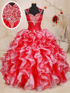 Amazing Straps Sleeveless Lace Up Ball Gown Prom Dress White and Red Organza