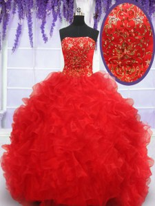 Hot Selling Red Organza Lace Up Quince Ball Gowns Sleeveless Floor Length Beading and Embroidery and Ruffles