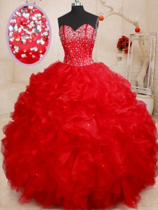 Fantastic Red Sweetheart Lace Up Beading and Ruffles Ball Gown Prom Dress Sleeveless