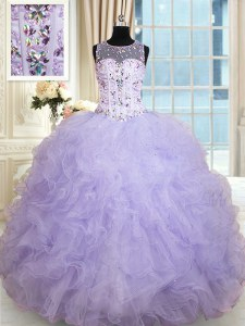 Designer Scoop Lavender Sleeveless Floor Length Beading and Ruffles Lace Up Sweet 16 Dresses