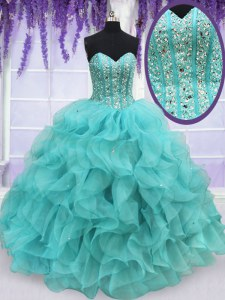 Beading and Ruffles Sweet 16 Quinceanera Dress Aqua Blue Lace Up Sleeveless Floor Length