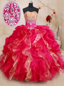 Enchanting Sweetheart Sleeveless Lace Up Quinceanera Gowns Red Organza