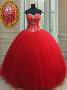 Best Selling Sweetheart Sleeveless Lace Up Sweet 16 Quinceanera Dress Red Tulle
