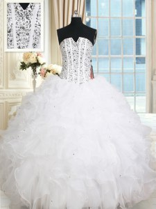 Luxurious White Organza Lace Up Sleeveless Floor Length Sweet 16 Dresses Beading and Ruffles