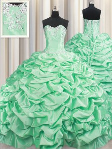 Taffeta Sleeveless With Train 15th Birthday Dress Brush Train and Beading and Pick Ups