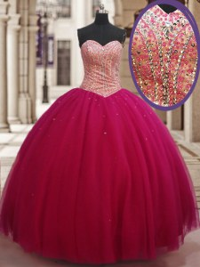 Traditional Sleeveless Tulle Floor Length Lace Up 15 Quinceanera Dress in Fuchsia with Beading