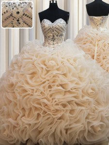 Fantastic Champagne Lace Up 15th Birthday Dress Beading Sleeveless Brush Train