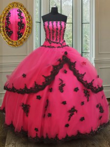 Enchanting Hot Pink Strapless Lace Up Beading and Appliques 15 Quinceanera Dress Sleeveless