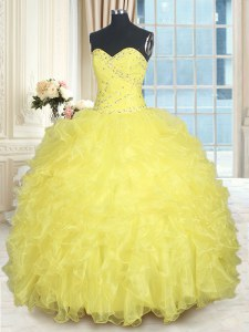 Yellow Ball Gowns Sweetheart Sleeveless Organza Floor Length Lace Up Beading and Ruffles Quinceanera Dresses